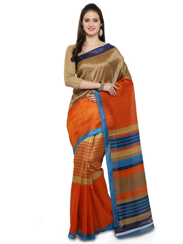 Brown and Orange Bhagalpuri Saree - YNF-28672