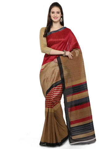 Red and Brown Bhagalpuri Saree - YNF-28673
