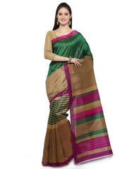 Green and Brown Bhagalpuri Saree