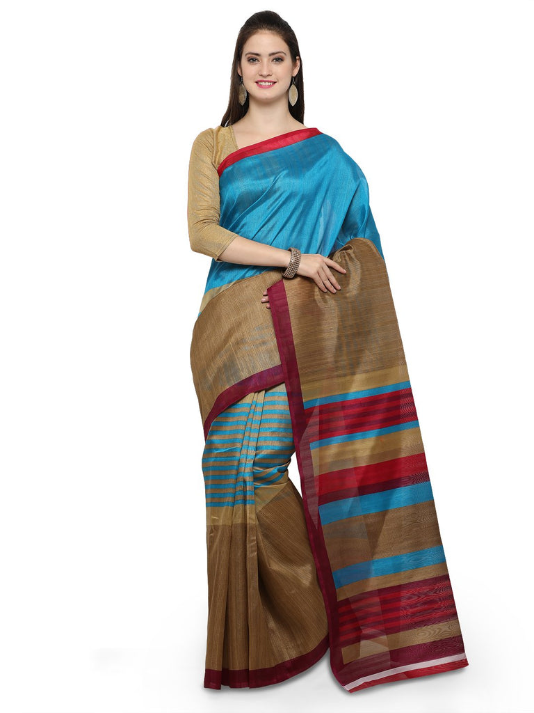 Turquoise Blue and Brown Bhagalpuri Saree