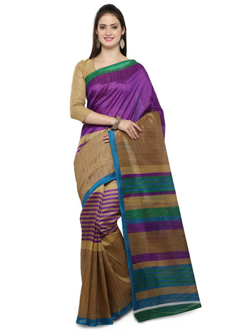Purple and Brown Bhagalpuri Saree - YNF-28677