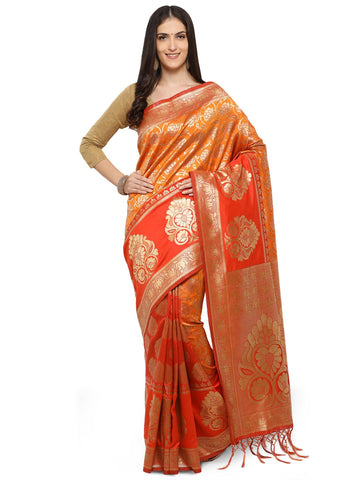 Red And Orange Color Cotton Silk Saree - YNF-28680
