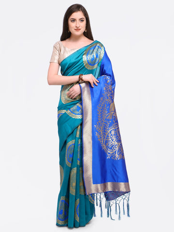Teal Color Art Silk Saree - YNF-28795