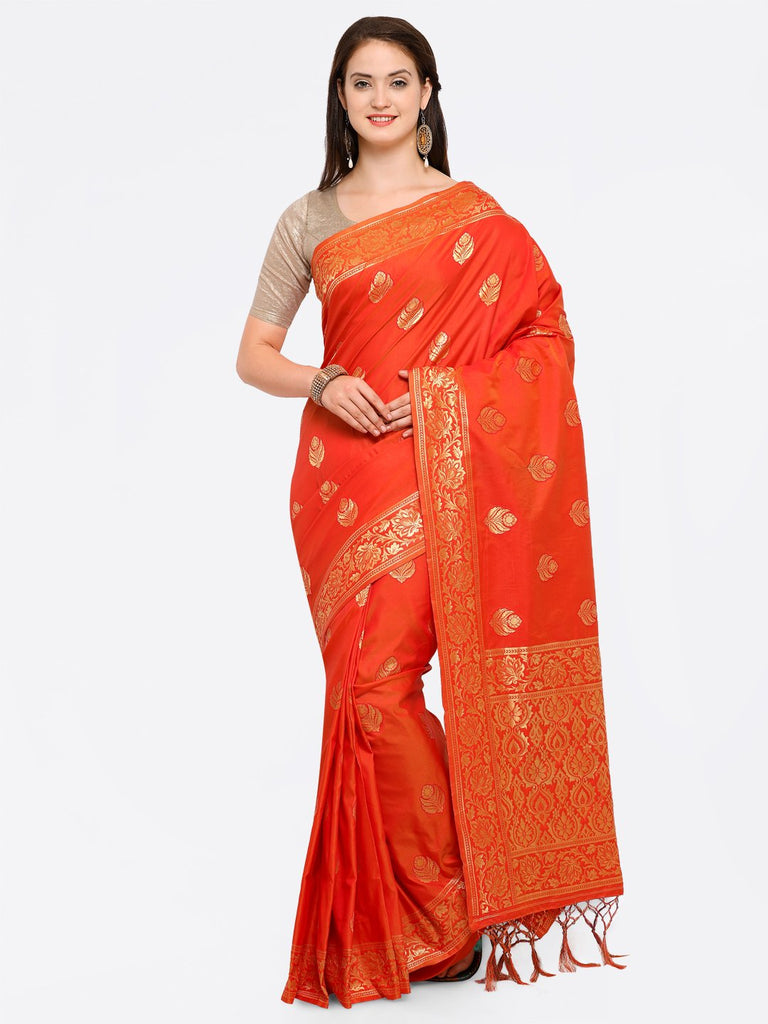 Buy Orange Color Banarasi Art Silk Saree
