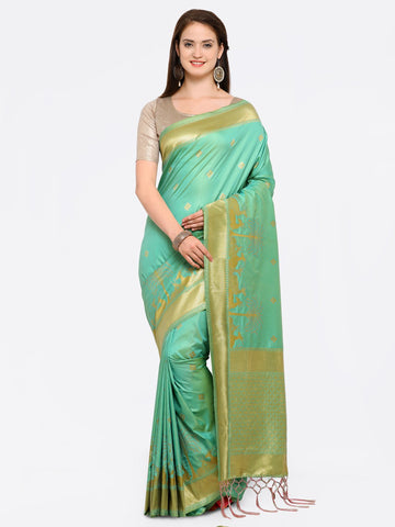 Light Green Color Banarasi Art Silk Saree - YNF-28836