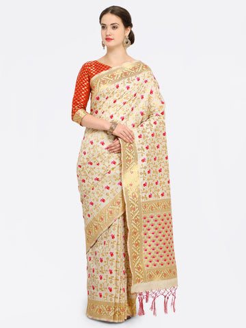 Off White Color Banarasi Art Silk Saree - YNF-28868