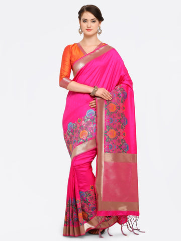 Pink Color Banarasi Art Silk Saree - YNF-28869