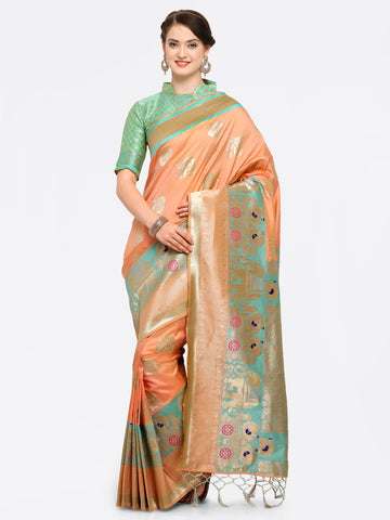 Peach Color Banarasi Art Silk Saree - YNF-28870