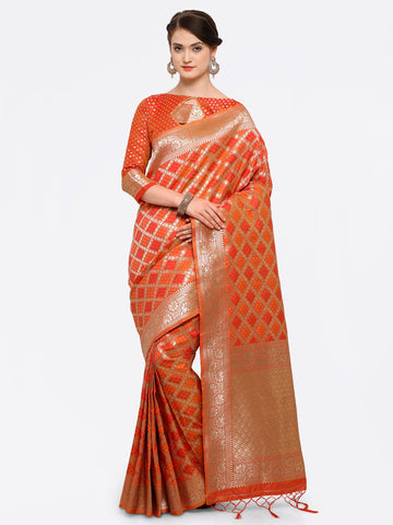 Orange And Red Color Banarasi Art Silk Saree - YNF-28871