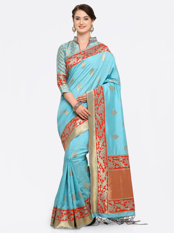 Turquoise Blue Color Banarasi Art Silk Saree - YNF-28872
