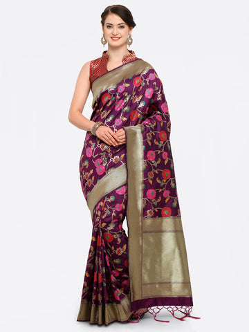 Purple Color Banarasi Art Silk Saree - YNF-28874