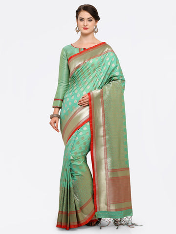 Light Green Color Banarasi Art Silk Saree - YNF-28875