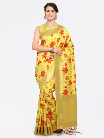 Yellow Color Banarasi Art Silk Saree - YNF-28877
