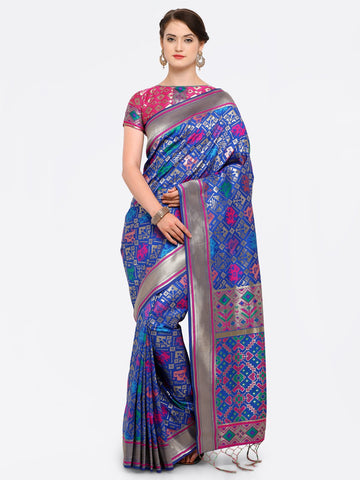 Blue Color Banarasi Art Silk Saree - YNF-28878