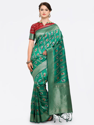 Green Color Banarasi Art Silk Saree - YNF-28879