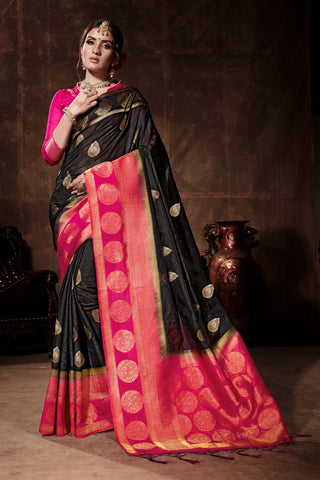 Black and Pink Color Nylon Silk Saree - YNF-28899