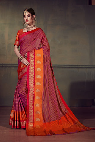 Magenta Color Cotton Silk Saree - YNF-28910