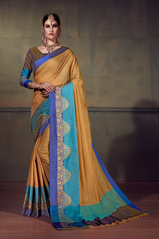 Beige Color Cotton Silk Saree - YNF-28913