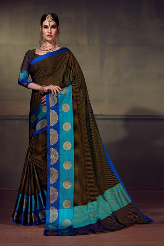 Brown Color Cotton Silk Saree - YNF-28915