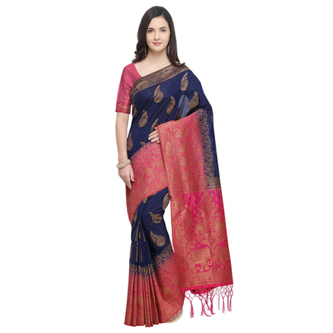Navy Blue And Pink Color Nylon Banarasi Silk Saree - YNF-28916