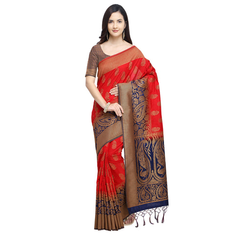 Red And Blue Color Nylon Banarasi Silk Saree - YNF-28917