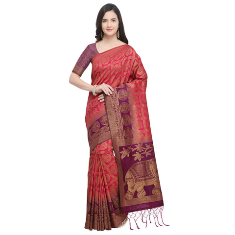 Pink And Purple Color Nylon Banarasi Silk Saree - YNF-28918