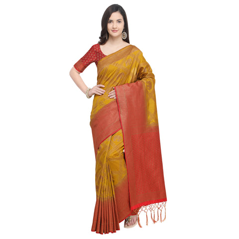 Mustard And Maroon Color Nylon Banarasi Silk Saree - YNF-28919