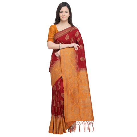 Maroon And Orange Color Nylon Banarasi Silk Saree - YNF-28920