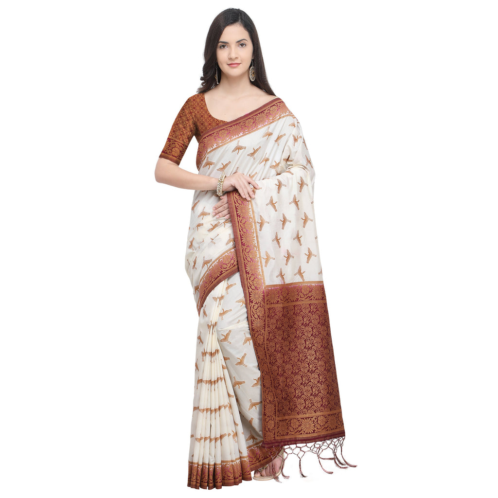 Buy Off White And Brown Color Nylon Banarasi Silk Saree