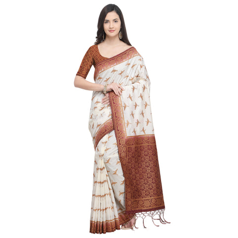 Off White And Brown Color Nylon Banarasi Silk Saree - YNF-28921
