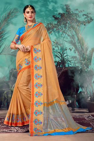 Beige Color Chanderi Saree  - YNF-28940