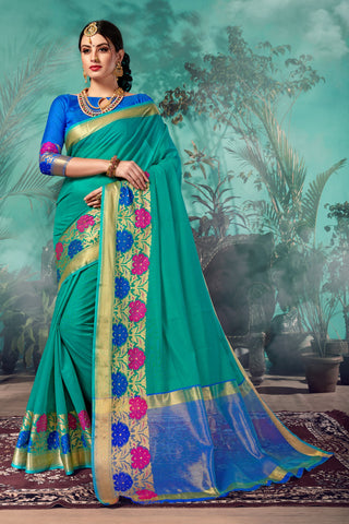 Teal Green Color Chanderi Saree  - YNF-28942