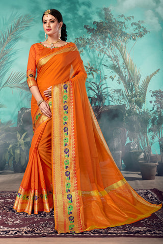 Orange Color Chanderi Saree  - YNF-28943