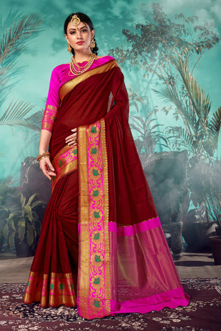 Maroon Color Chanderi Saree  - YNF-28947