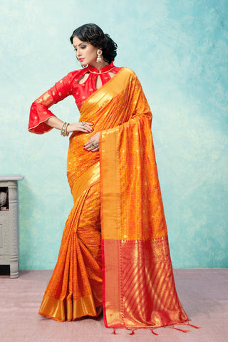 Orange Color Banarasi Art Silk Saree - YNF-28950