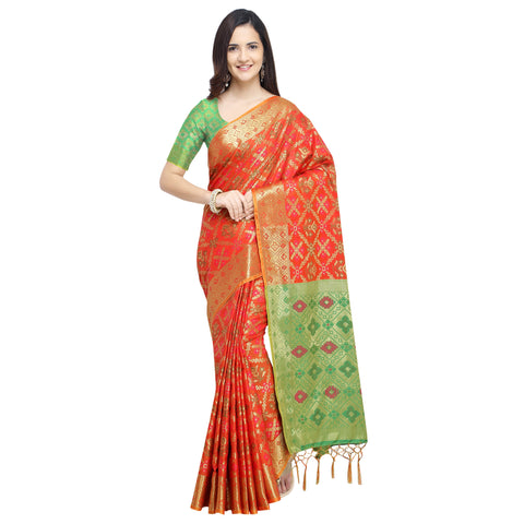 Orange Color Banarasi Silk Saree - YNF-28960