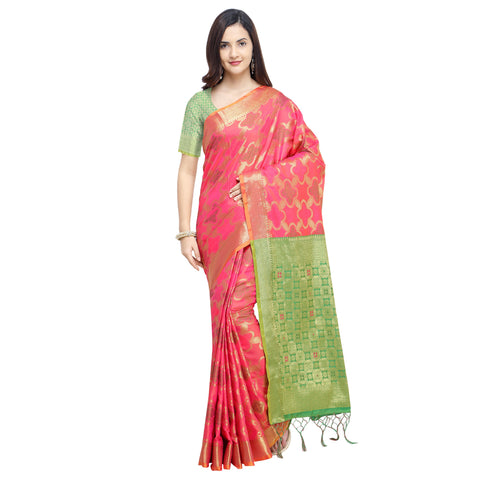 Pink Color Banarasi Silk Saree - YNF-28961