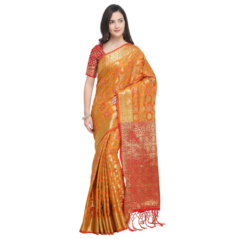 Yellow Color Banarasi Silk Saree - YNF-28962