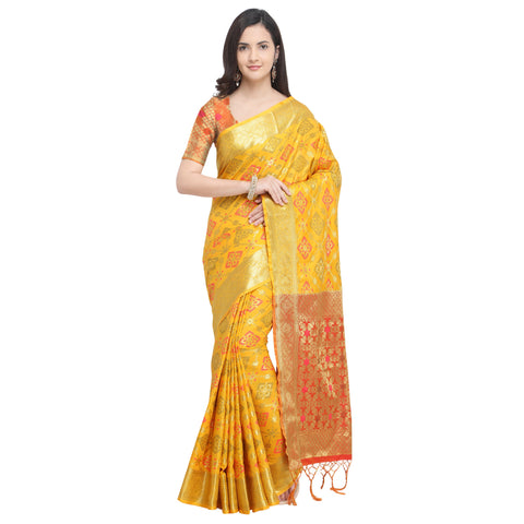 Yellow Color Banarasi Silk Saree - YNF-28964