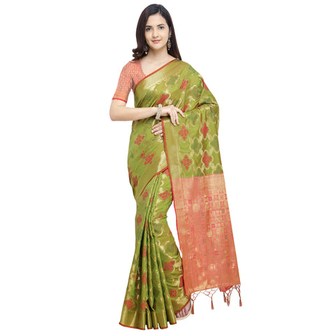 Mehndi Green Color Banarasi Silk Saree - YNF-28966