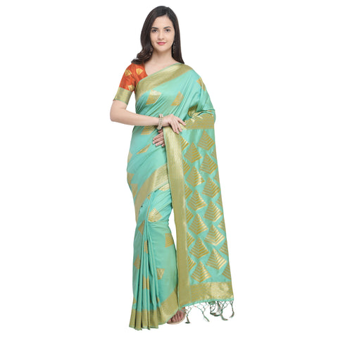 Lime Green Color Banarasi Soft Art Silk Saree - YNF-29139