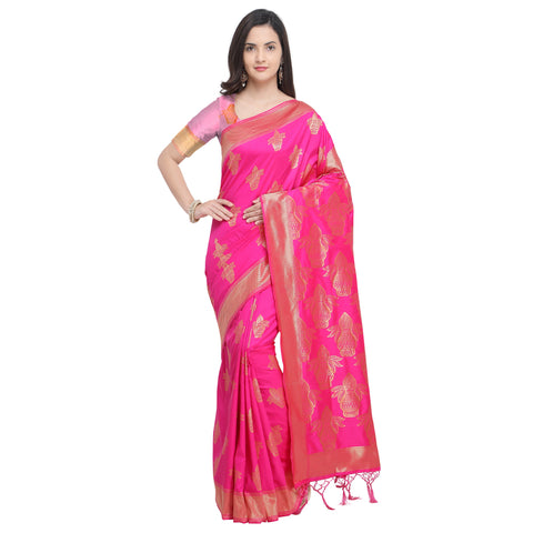 Pink Color Banarasi Soft Art Silk Saree - YNF-29141