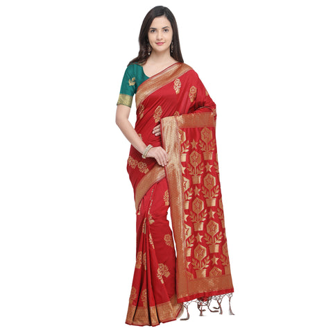 Red Color Banarasi Soft Art Silk Saree - YNF-29142
