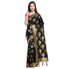 Buy Black Color Banarasi Soft Art Silk Saree