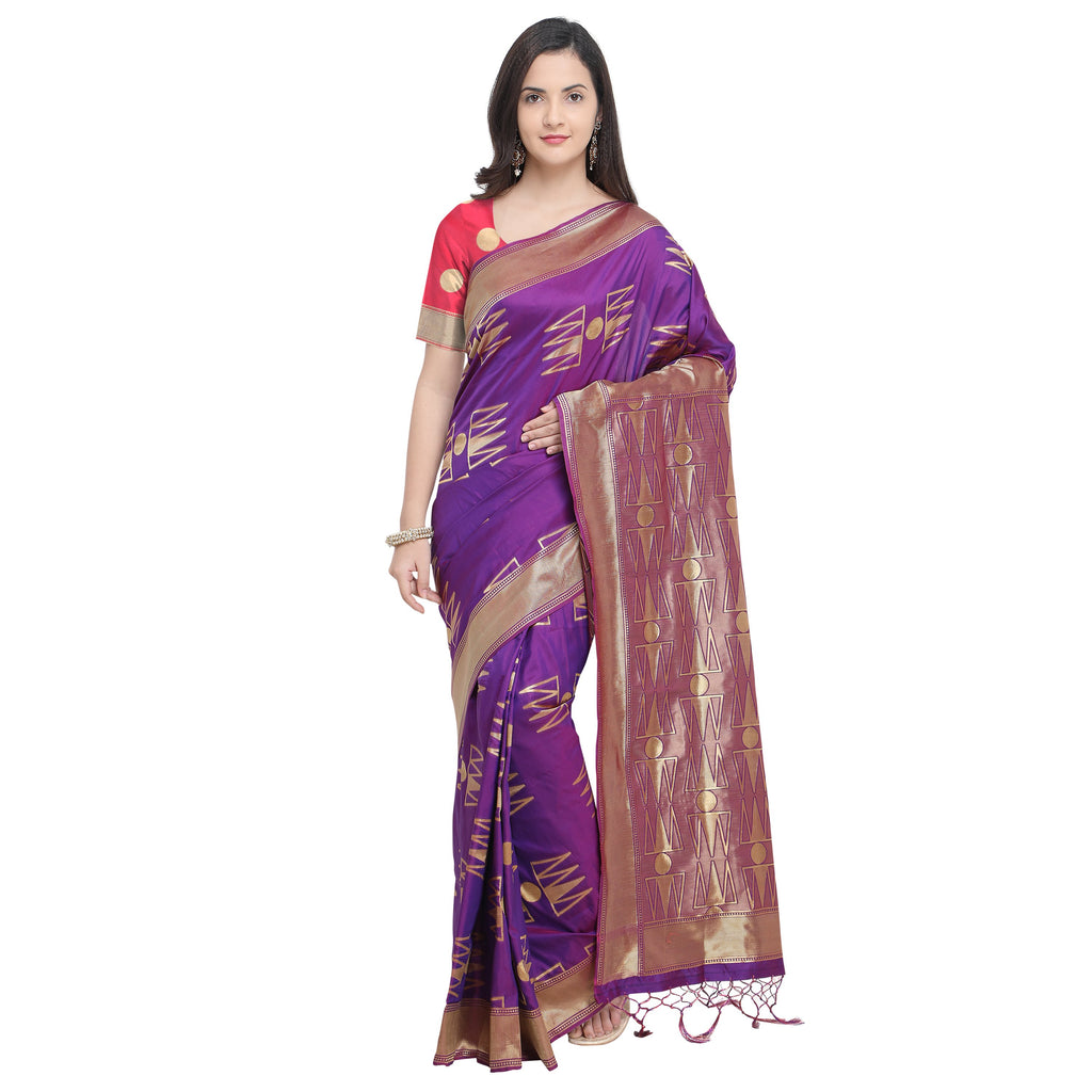 Buy Purple Color Banarasi Soft Art Silk Saree