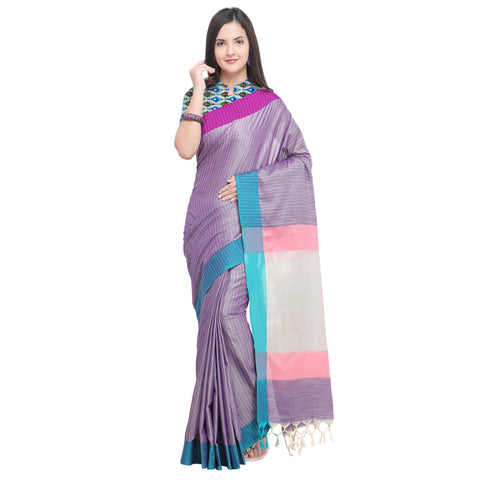 Violet Color Linen Saree - YNF-29168