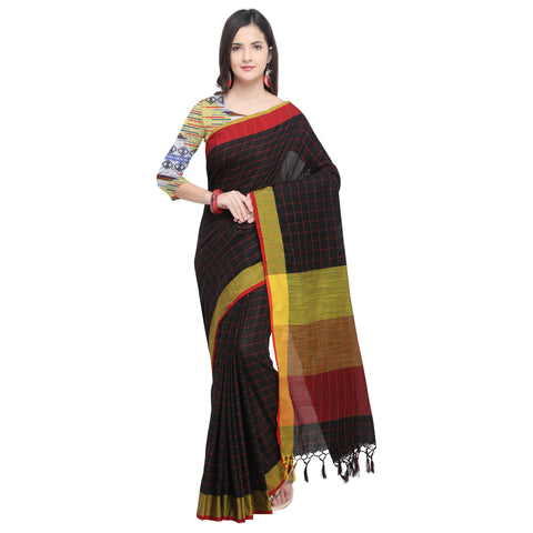 Black Color Linen Saree - YNF-29171
