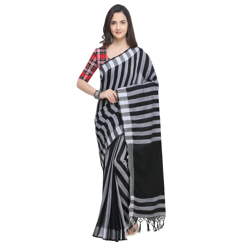 Black And White Color Linen Saree - YNF-29172