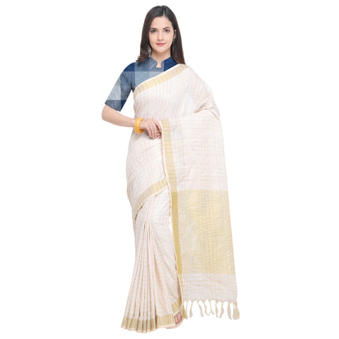 Cream Color Linen Saree - YNF-29173