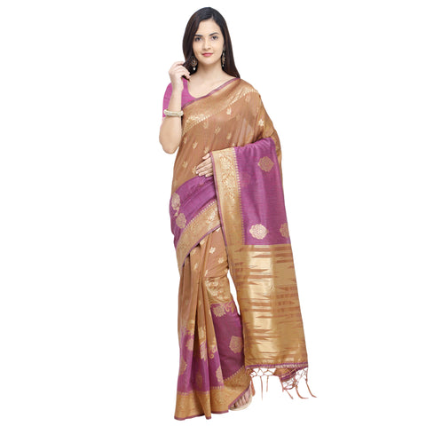 Gold And Rani Color LINEN SILK Saree - YNF-29194